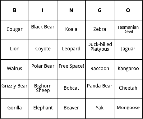 Mammals bingo by Bingo Card Template