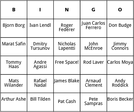 mens tennis stars bingo