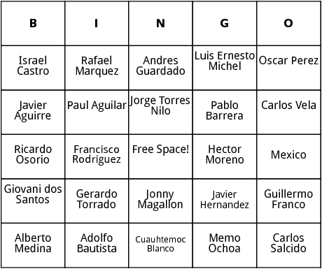 mexican world cup players bingo