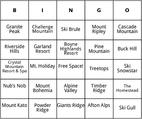 midwestern ski resorts bingo