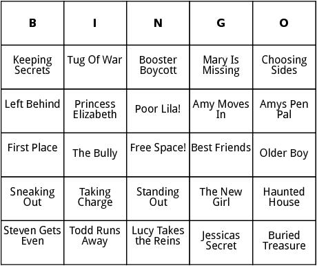 more sweet valley high titles bingo