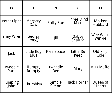 mother goose rhymes bingo