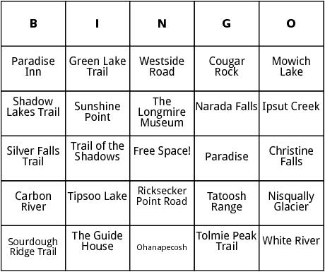mount ranier national park bingo