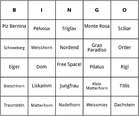 mountains in europe bingo