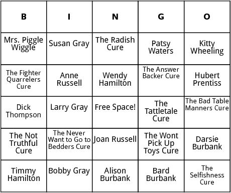 mrs. piggle wiggle characters and cures bingo