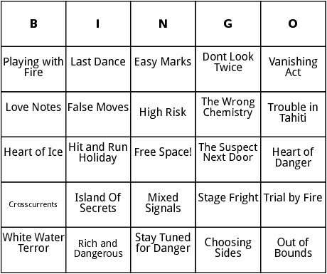 nancy drew book titles bingo