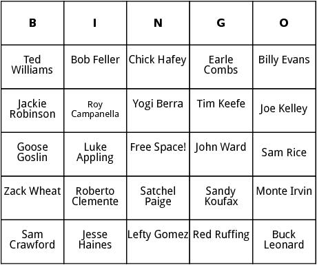 national baseball hall of fame 2 bingo