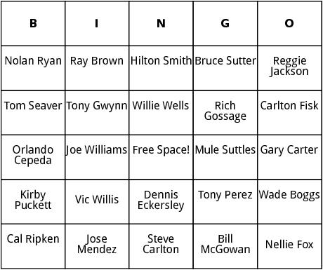 national baseball hall of fame 4 bingo