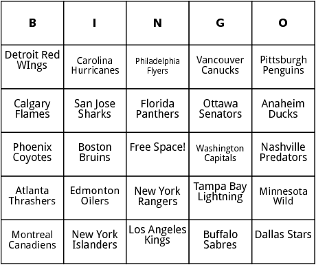 national hockey league teams bingo