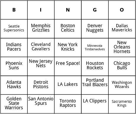 nba teams bingo