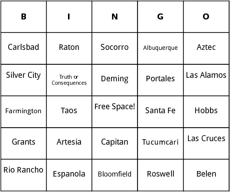 new mexico cities bingo