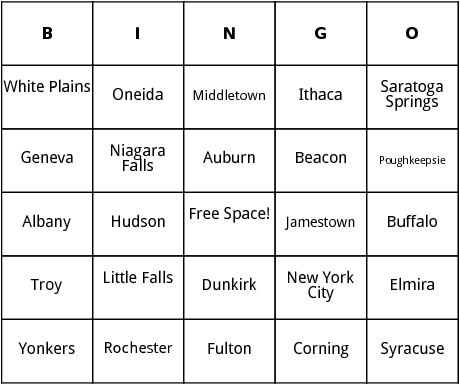 new york cities bingo