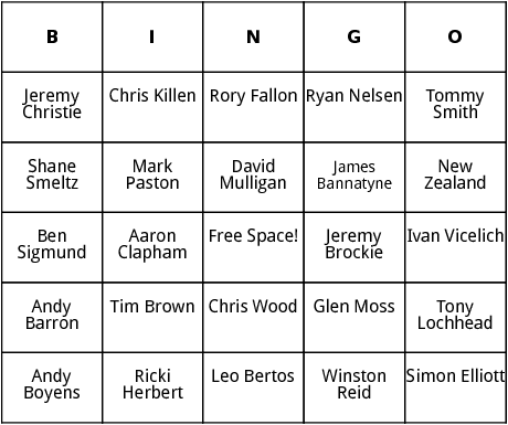 new zealander world cup players bingo