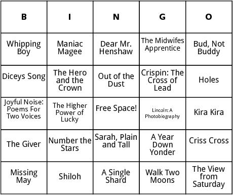 newberry medal winners bingo