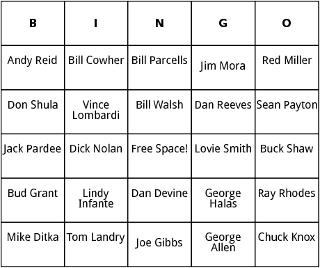 nfl coaches of the year bingo