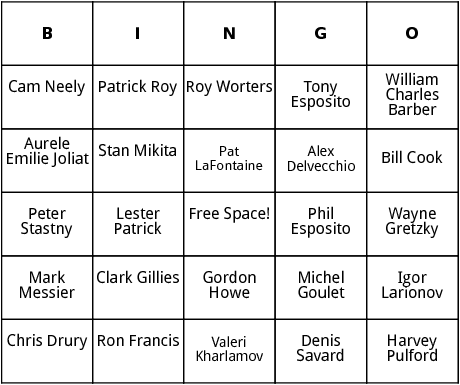 nhl players bingo
