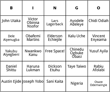 nigerian world cup players bingo