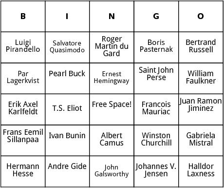 nobel prize winners 1931-1960 bingo