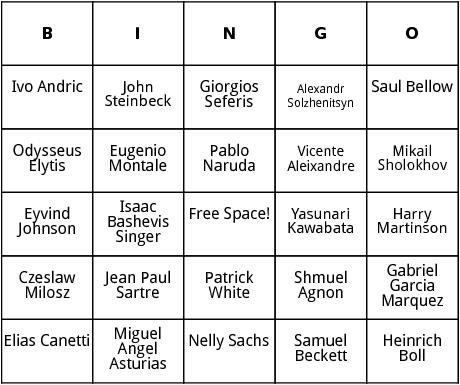 nobel prize winners 1961-1983 bingo
