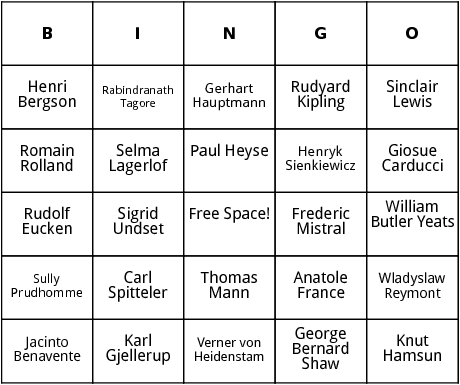 nobel prize winners in the 1900s bingo