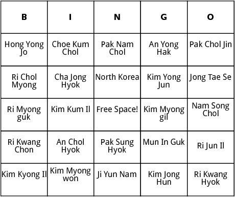 north korean world cup players bingo