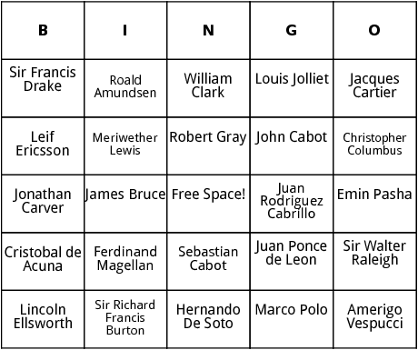 notable explorers bingo