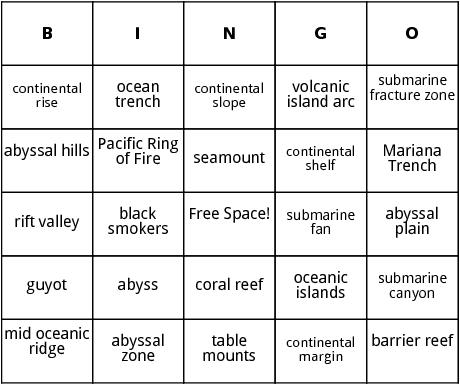 ocean floor features bingo
