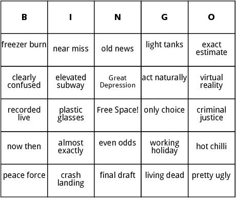oxymorons bingo
