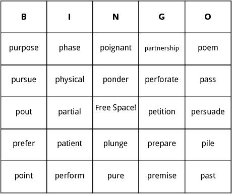 p words bingo
