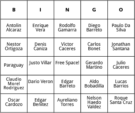 paraguayan world cup players bingo