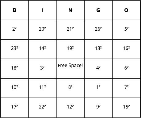 perfect squares bingo