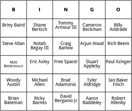 pga tour 1 bingo