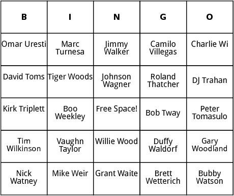pga tour 11 bingo