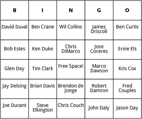 pga tour 3 bingo