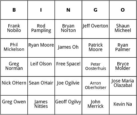 pga tour 8 bingo