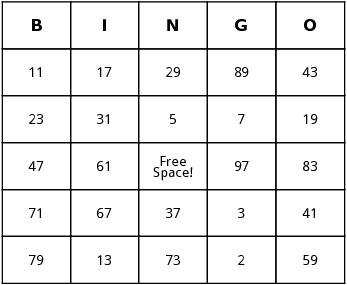 prime numbers bingo