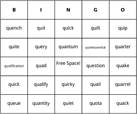 q words bingo