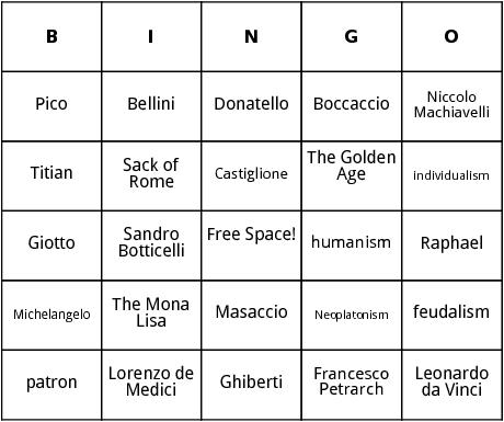 renaissance bingo
