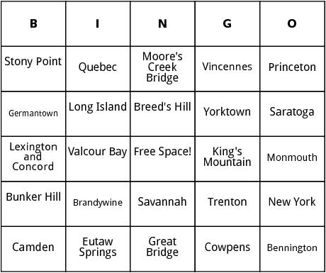 revolutionary war battles bingo