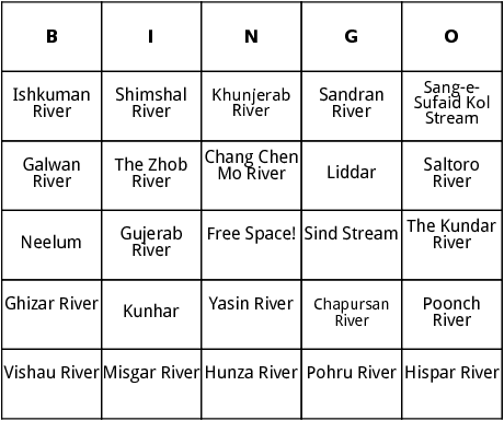 rivers of pakistan bingo