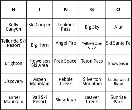 rocky mountain ski resorts bingo