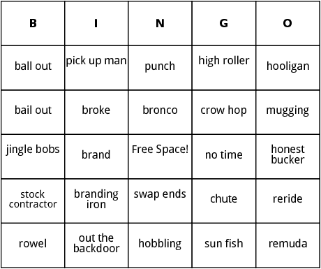 rodeo bingo