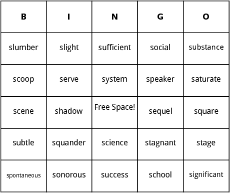 s words bingo