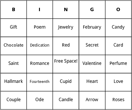 Saint Valentines Day Bingo by Bingo Card Template – San Valentines Cards