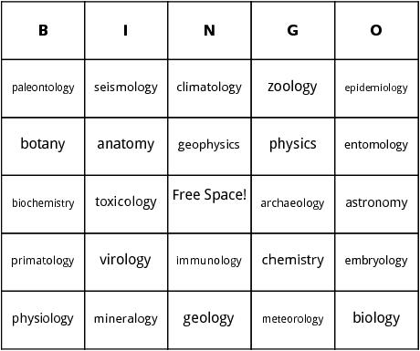 scientific studies bingo