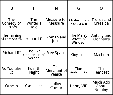 shakespeare plays bingo