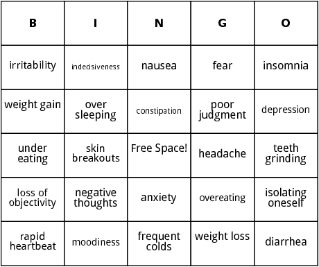 signs of stress bingo