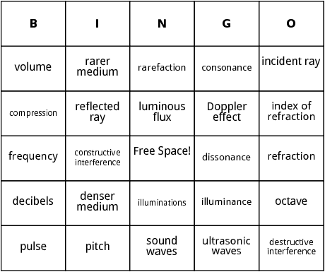 sound and light bingo