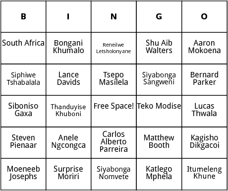 south african world cup players bingo
