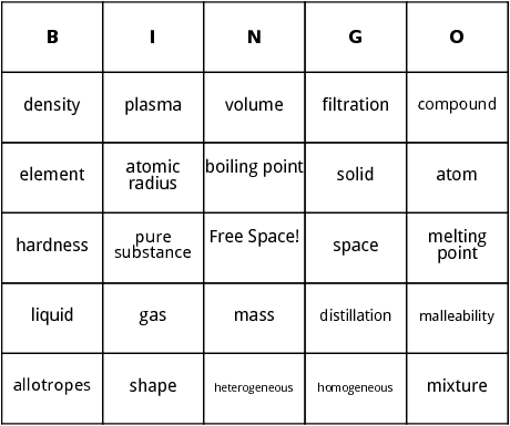 space and matter bingo